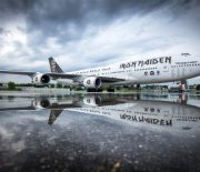 Zürich, Switzerland - June 01, 2016: The jumbo jet of British heavy-metal band Iron Maiden, Boeing 747-400, is parked at Zurich Airport.